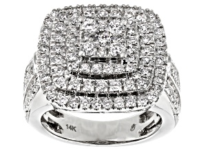 White Diamond 14K White Gold Cluster Ring 2.00ctw