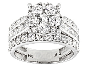 White Diamond 14K White Gold Cluster Ring 3.00ctw