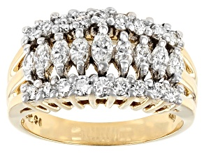 White Diamond 14K Yellow Gold Pyramid Ring 1.00ctw