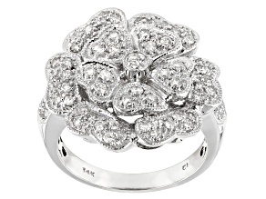 White Diamond 14K White Gold Flower Cocktail Ring 0.75ctw