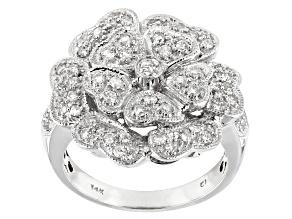White Diamond 14K White Gold Flower Cocktail Ring 0.75ctw
