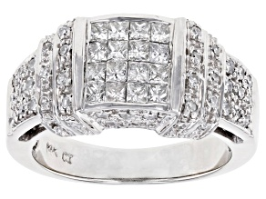 White Diamond 14K White Gold Cluster Ring 1.00ctw