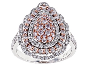 Natural Pink & White Diamond 14K White Gold Cluster Ring 1.20ctw