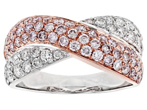Natural Pink & White Diamond 14K Two-Tone Gold Crossover Ring 1.50ctw