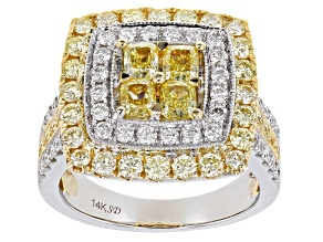 Natural Yellow And White Diamond 14K Two-Tone Gold Cluster Ring 2.50ctw