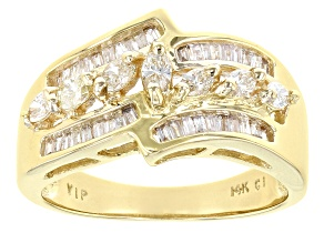 White Diamond 14K Yellow Gold Ring 0.75ctw