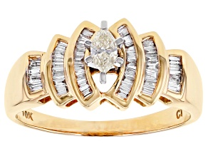 White Diamond 10K Yellow Gold Ring 0.37ctw