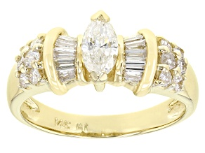 White Diamond 14K Yellow Gold Ring 0.90ctw