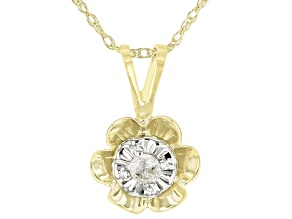 White Diamond Accent 10K Yellow Gold Flower Pendant