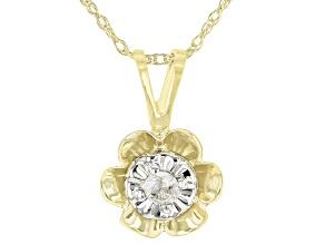 White Diamond Accent 10K Yellow Gold Flower Pendant