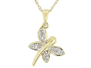 White Diamond Accent 10K Yellow Gold Butterfly Pendant