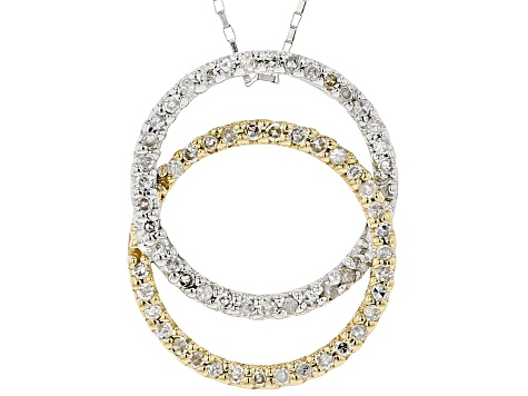 White Diamond 14K Two-Tone Gold Interlocking Circle Pendant With Chain 0.25ctw