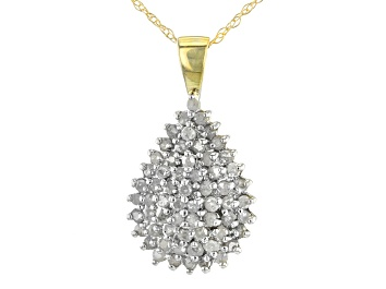 Picture of White Diamond 10K Yellow Gold Cluster Pendant 1.00ctw