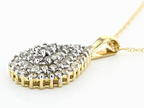 White Diamond 10K Yellow Gold Cluster Pendant 1.00ctw