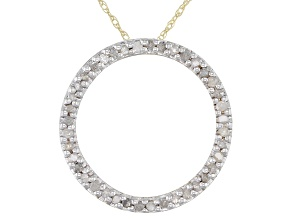 White Diamond 10K Yellow Gold Circle Pendant 0.25ctw