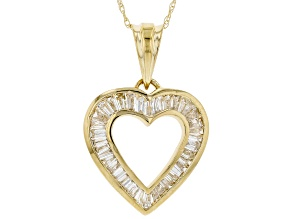White Diamond 14K Yellow Gold Heart Pendant 0.93ctw
