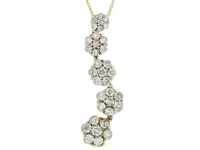 White Diamond 10K Yellow Gold Floral Cluster Pendant 0.94ctw