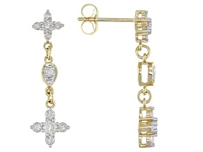 White Diamond 14K Yellow Gold Cross Dangle Earrings 0.75ctw