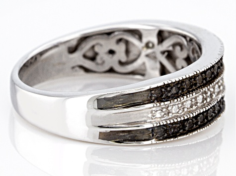 Black & White Diamond Accent Rhodium Over Sterling Silver Band Ring