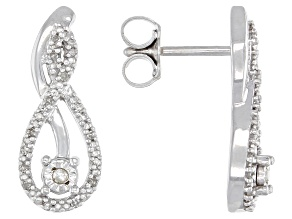 White Diamond Rhodium Over Sterling Silver Earrings 0.12ctw