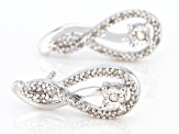 White Diamond Rhodium Over Sterling Silver Earrings 0.12ctw