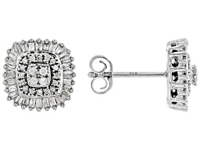 White Diamond Rhodium Over Sterling Silver Cluster Earrings 0.50ctw