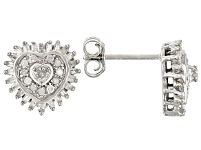 White Diamond Rhodium Over Sterling Silver Heart Cluster Earrings 0.50ctw