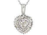 White Diamond Rhodium Over Sterling Silver Heart Cluster Pendant With Chain 0.50ctw