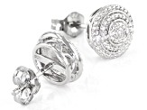 White Diamond Accent Rhodium Over Sterling Silver Stud Earrings