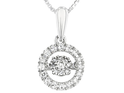 White Diamond Rhodium Over Sterling Silver Dancing Diamond Pendant With Box Chain 0.20ctw