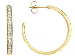 White Diamond 14K Yellow Gold Hoop Earrings 1.00ctw
