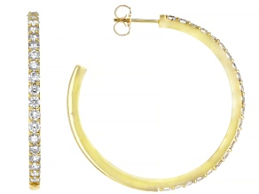 White Diamond 14K Yellow Gold Hoop Earrings 2.00ctw