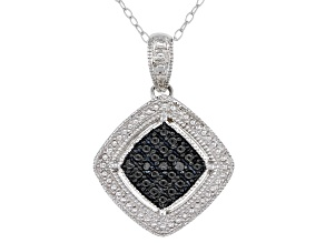 Black Diamond Accent Rhodium Over Sterling Silver Cluster Pendant With Cable Chain