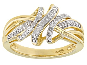 White Diamond 14K Yellow Gold Over Sterling Silver Crossover Ring 0.10ctw
