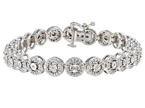 White Diamond Rhodium Over Sterling Silver Tennis Bracelet 0.50ctw