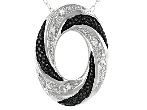 White Diamond Accent Rhodium Over Sterling Silver Oval Pendant