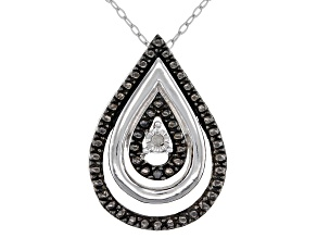 Black And White Diamond Accent Rhodium Over Sterling Silver Tear Drop Pendant With Cable Chain