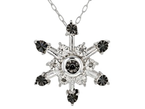 Black And White Diamond Accent Rhodium Over Sterling Silver Snowflake Pendant With Cable Chain