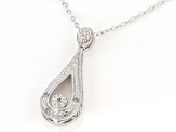 White Diamond Accent Rhodium Over Sterling Silver Teardrop Pendant With Cable Chain