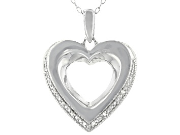 Picture of White Diamond Accent Rhodium Over Sterling Silver Heart Pendant With Cable Chain