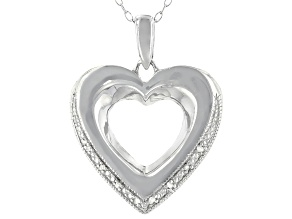 White Diamond Accent Rhodium Over Sterling Silver Heart Pendant With Cable Chain