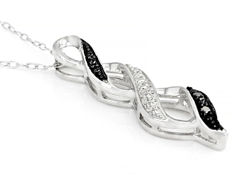 Black Diamond Accent Rhodium Over Sterling Silver Pendant With Cable Chain