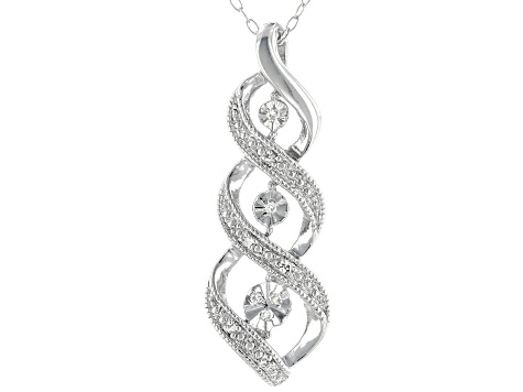 White Diamond Accent Rhodium Over Sterling Silver Pendant With Cable Chain