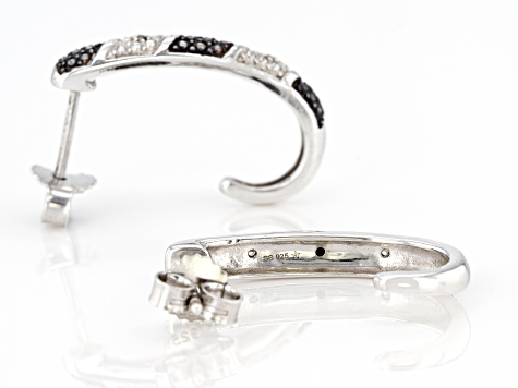 Black And White Diamond Accent Rhodium Over Sterling Silver J-Hoop Earrings