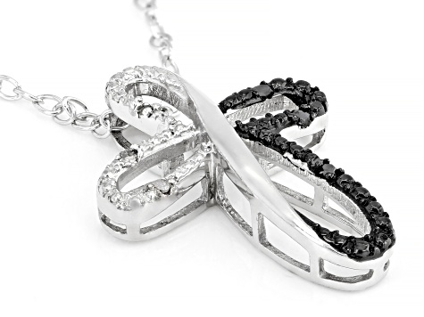 Black And White Diamond Accent Rhodium Over Sterling Silver Cross Pendant With Cable Chain