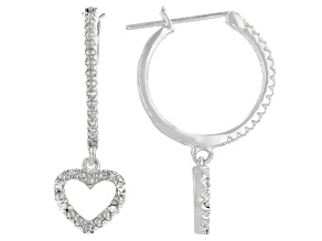 White Diamond Accent Rhodium Over Sterling Silver Dangling Heart Hoop Earrings