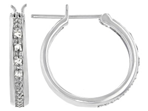 White Diamond Accent Rhodium Over Sterling Silver Hoop Earrings