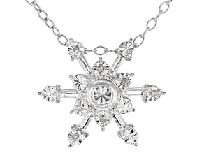 White Diamond Accent Rhodium Over Sterling Silver Snowflake Pendant With Cable Chain