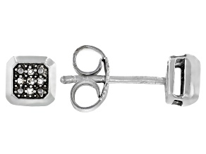 White Diamond Accent Rhodium Over Sterling Silver Square Stud Earrings