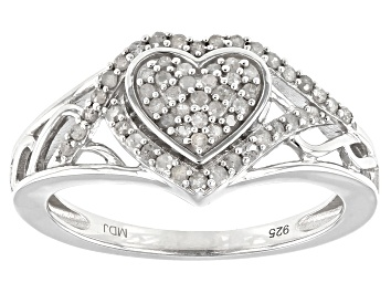 Picture of White Diamond Rhodium Over Sterling Silver Heart Cluster Ring 0.33ctw